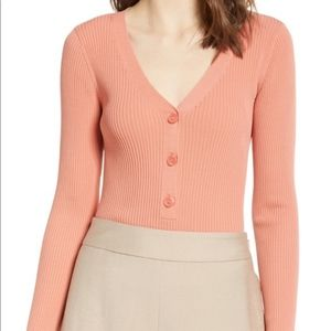 Leith Ribbed Henley Top coral
